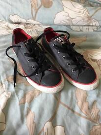 Boys red/black converse size 3