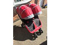 Mini city jogger gt double pushchair newer version with adjustable handle and front swivel wheels