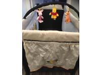 Travel cot with extra mattress