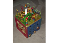 Wooden activity cube for kids, boys and girls