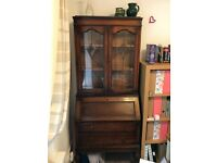Oak leaded glass bureau book case