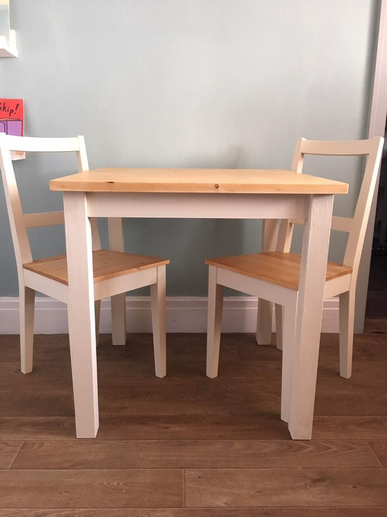 upcycled hand painted ikea dining table and 2 chairs in burscough lancashire gumtree. Black Bedroom Furniture Sets. Home Design Ideas