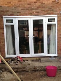 White framed double glazed French door unit
