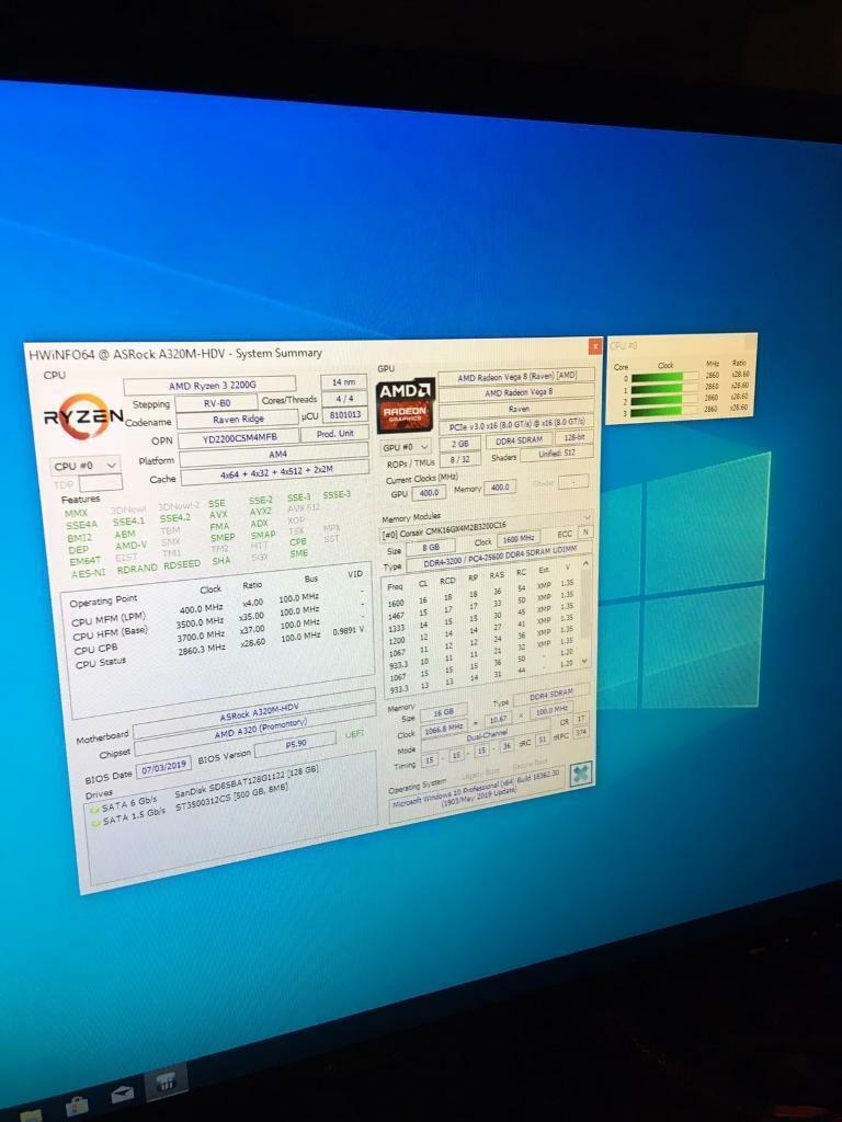Gaming PC AMD Ryzen 3 2200G Vega 8 Graphics 16GB RAM 128GB SSD 500GB HDD  Win 10   in Hull, East Yorkshire   Gumtree