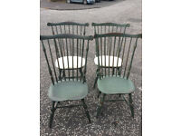 Set of 4 , Country Kitchen Style chairs , stained green spindle back chairs Free local delivery.