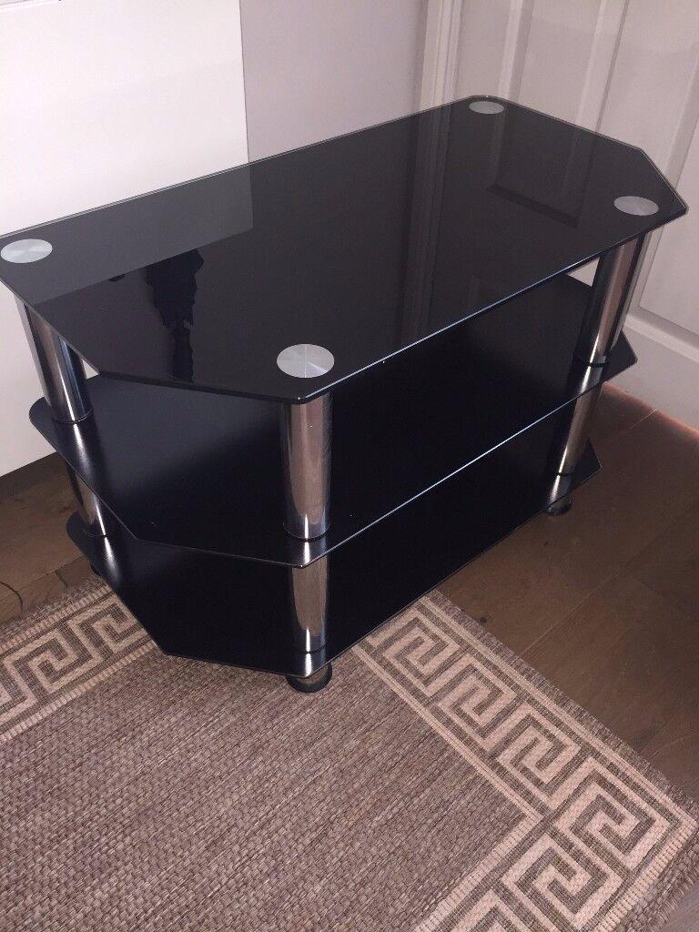 Table Black Glass TV LCD Monitor DVD
