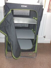 Vango 3-shelf Mammoth cupboard, camping stools, Kampa Electric Mains Cable
