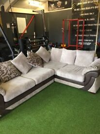 Suede and Faux Leather Sofa with MEMORY FOAM