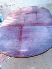 RED DINING TABLE WITHOUT CHAIR WITH SCRATCHES ON