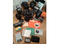 Zenit EM 35mm SLR Camera Kit - 4x Lenses, Flash, Film Safe, Pullman Bag, Manuals - All Working