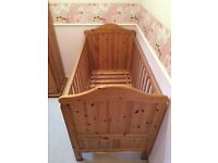 Solid Pine Cotbed, Wardrobe and Baby Changing Unit.
