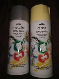 x2 bottles Wilko metallic Silver and Happy Yellow Gloss Aerosol Paint 400ml