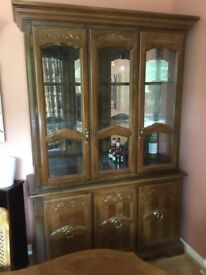 Pecan wood and glass ornate disolay cabinet