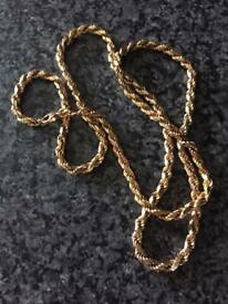 Solid Gold diamond cut rope chain 9kt