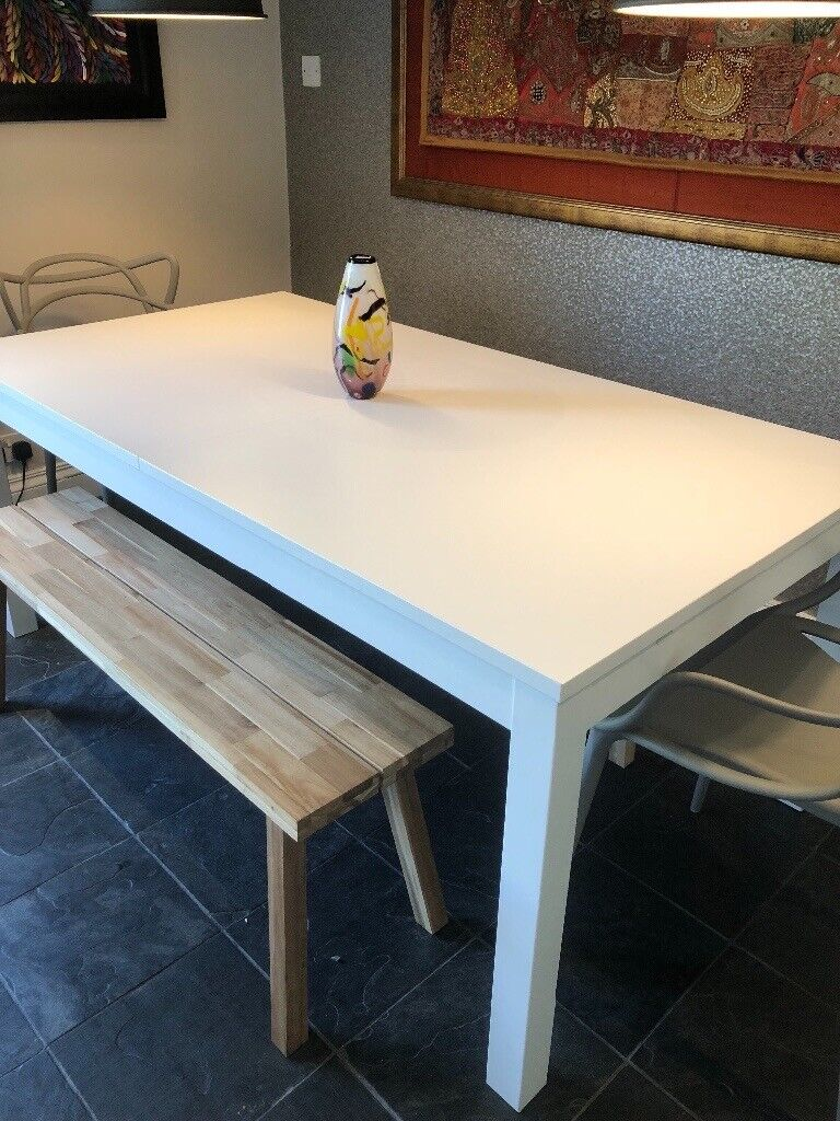 Pleasing White Ikea Dining Table And 2 Ikea Skogsta Benches In Hyndland Glasgow Gumtree Ocoug Best Dining Table And Chair Ideas Images Ocougorg