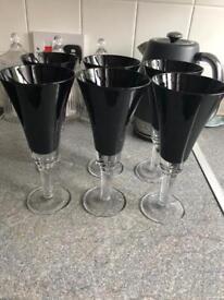 6 Black M&S Wine Glasses