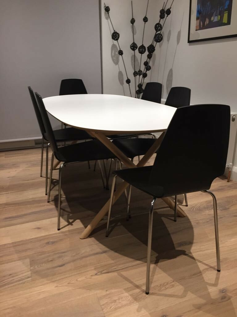 White Melamine Dining Table With Wooden And Chrome Stand In Newtownabbey County Antrim Gumtree