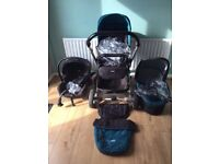 Joie Chrome - Complete Travel System in teal. (Car Seat, Push Chair, Pram)