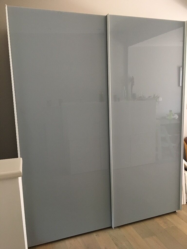 John Lewis Wardrobe With Grey Glass Double Sliding Doors