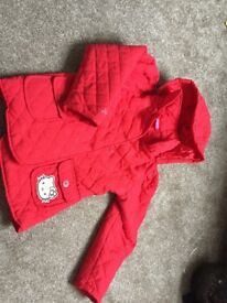 Red hello kitty coat. Size 128 cm. red.