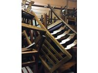 job lot of 40 oak vintage dinning table chairs all solid antique vintage for pubs and bars