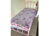 Girls Pink Single Bed & Mattess