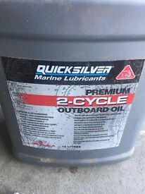 10 litres of Quicksilver premium 2 stroke outboard oil