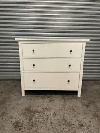 FREE DELIVERY IKEA HEMNES WHITE GLOSS CHEST OF THREE DRAWERS GREAT CONDITION