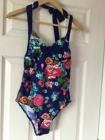 Joules new royal blue floral swimming costume