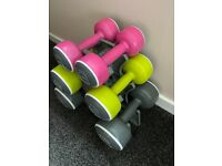 Body Sculpture dumbells with rack 2 each of 1.5kg, 3kg, 5kg. New condition