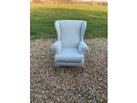 Parker Knoll wingback armchair in designers guild blue and white fabric