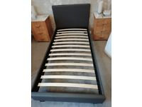 Single 3ft bed frame grey faux leather