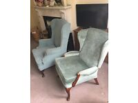 Two wing armchairs, Queen Anne style