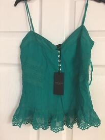 Brand new Ted Baker £55 100% Silk Top Cami size 1 U.K. 8