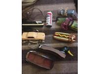 Bundle of 7 novelty some rare vintage telephones, hotdog, car, train, Budweiser, see through