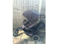 Double pushchair buggy Phil and ted with second seat and rain-cover