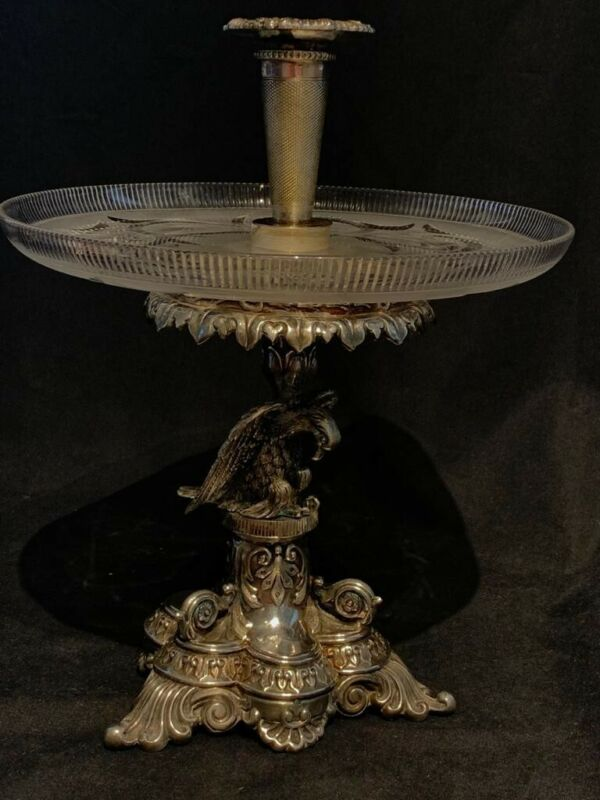 Antique Silver Plated and crystal Centrepiece 19th Century Superb Quality