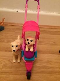 Barbie puppy stroller play set