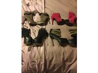 4 pairs high heel boots