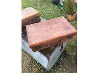 Vintage leather suitcase in fairly good condition
