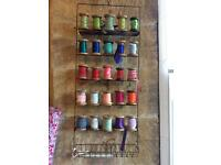 Wire Ribbon holder with 20 wooden bobbins