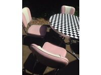 Cola Red American Retro Diner Table and Chairs in Pink