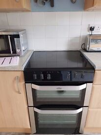 IDEAL FAMILY COOKER.....STAINLESS STEEL DOUBLE OVEN WITH GRILL & CERAMIC HOB... HARDLY USED