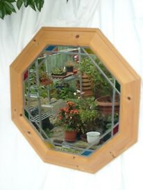 Octagonal Pine Framed Mirror With Leading Detail