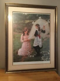 FRAMED LARGE PRINT OF TWO GIRLS AND A KITE - EDWARDIAN ERA