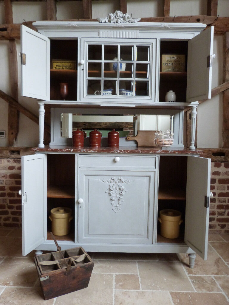 French painted shabby chic buffet dresser sideboard with marble top ...
