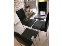 Glass Dining Table & 4 Leather Chairs