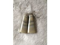 Striped flint Earrings VERY RARE stone - only in one place in the world:POLAND