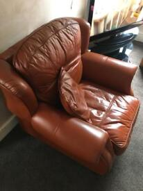 100% Leather Arm Chair for sale in tanned brown
