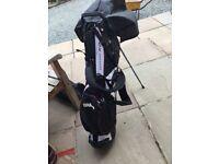 Left handed set of Dunlop MX2 golf clubs with Callaway Big Bertha 3/5 woods